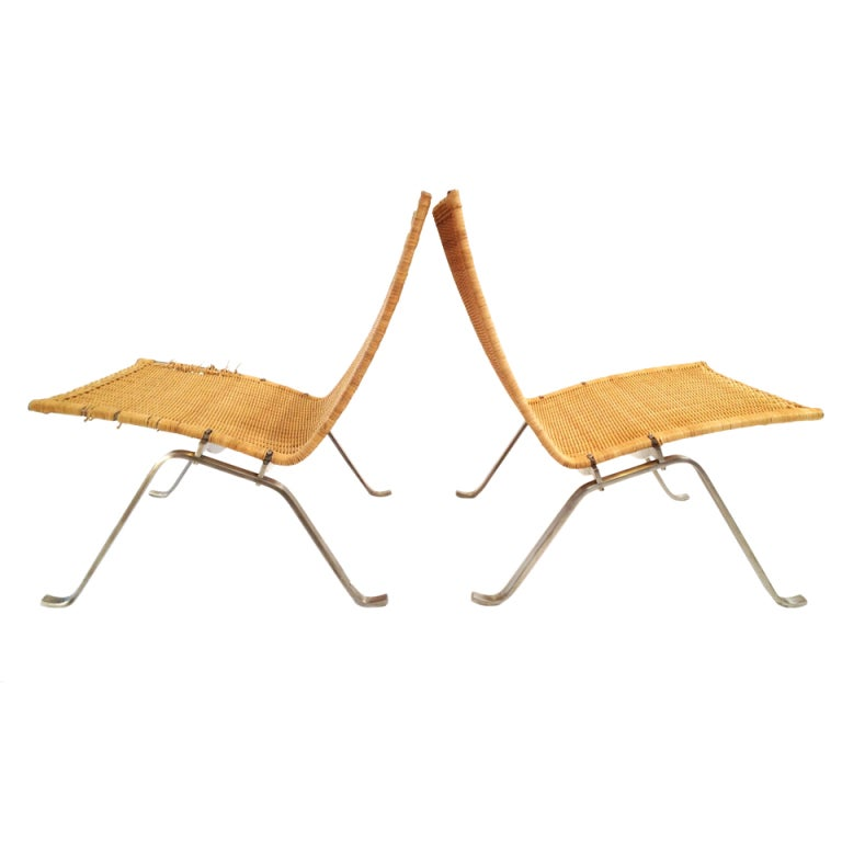 Pair of Poul Kjaerholm PK22 Wicker Lounge Chairs at 1stdibs : XXX1e from 1stdibs.com size 768 x 768 jpeg 28kB