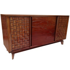 Paul Laszlo Basket Weave Chest Credenza Buffet for Brown Saltman