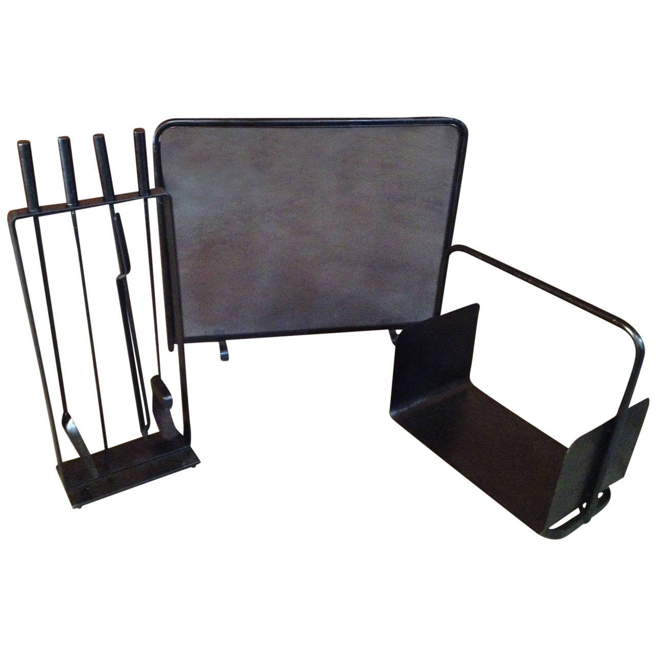 Rare Complete Set Of Vintage Fireplace Tools Log Holder And Screen By Pilgrim At 1stdibs