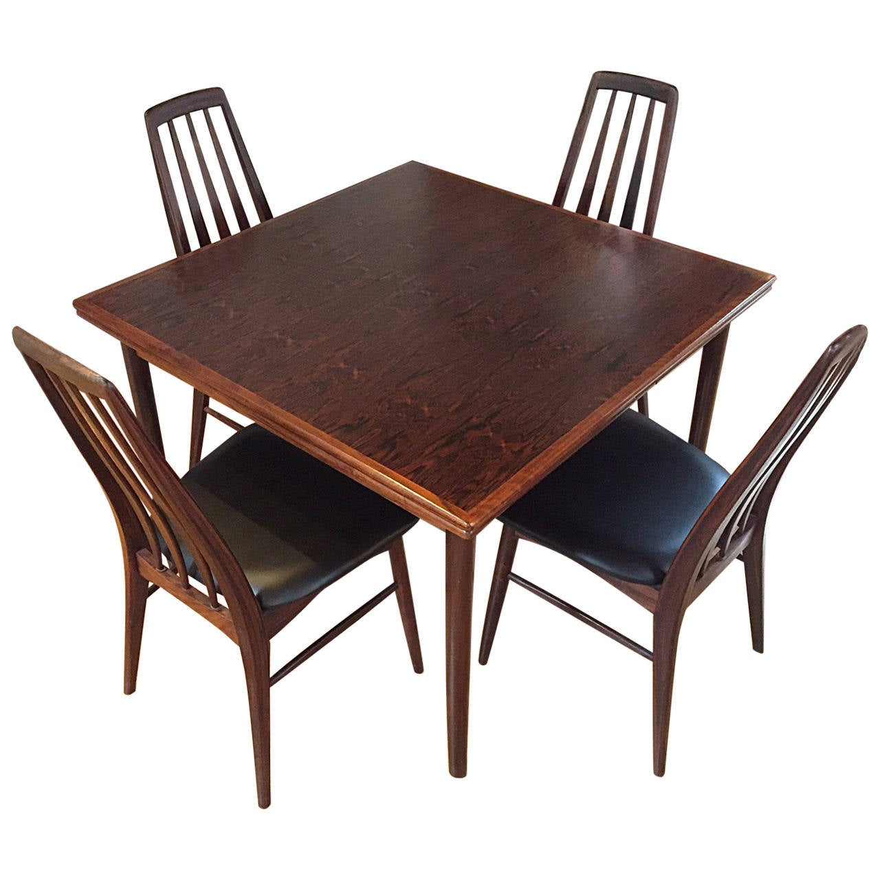 Danish Modern Rosewood Dining Table And Four Rosewood
