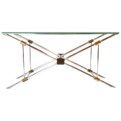 Exceptional John Vesey Aluminum and Brass Glass Top Console Table