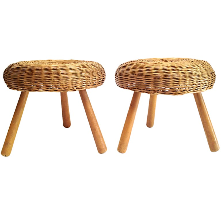 Pair Of Vintage Wicker 3 Legged Stools In The Manner Of