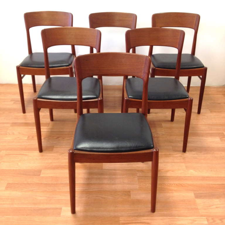 Set of six danish modern teak dining chairs by ks at stdibs
