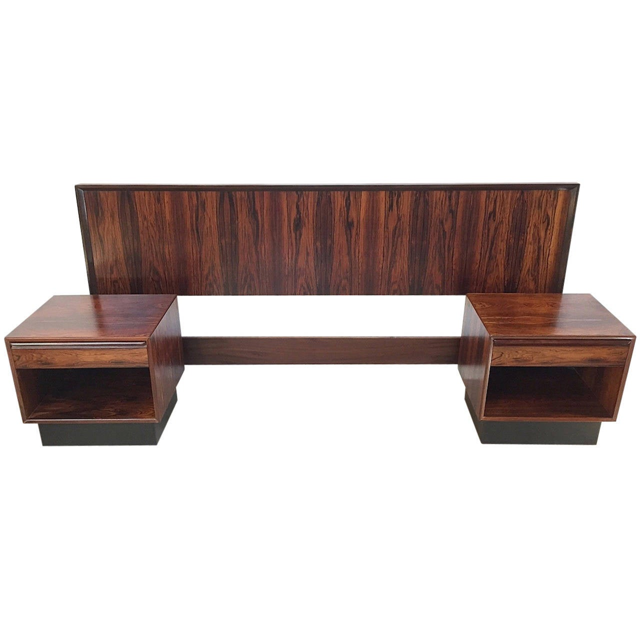 Rare danish modern rosewood king headboard with matching for Matching bed and dresser