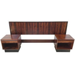 Rare Danish Modern Rosewood King Headboard with Matching Nightstands by Westnofa