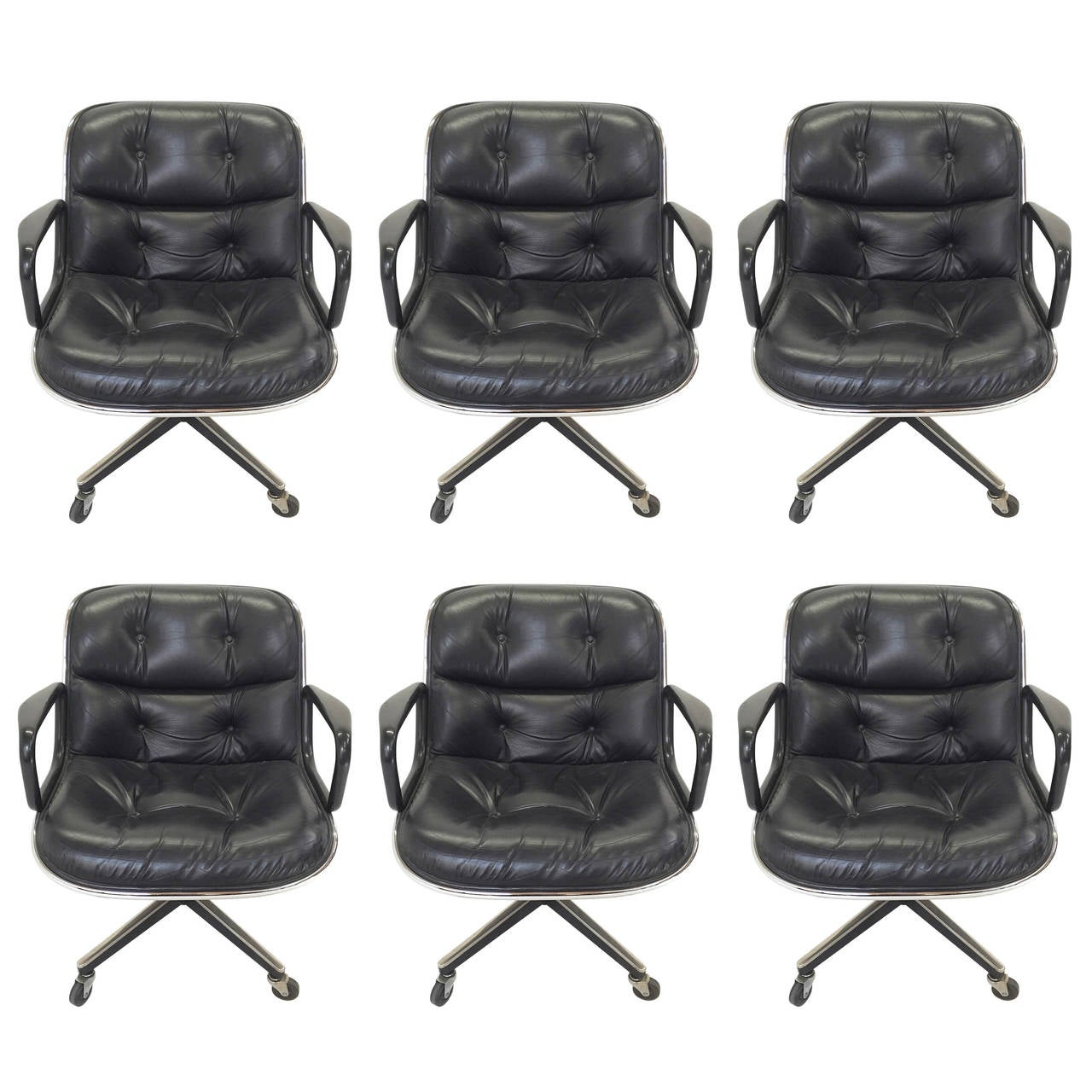 Six black leather charles pollock executive chairs by knoll at 1stdibs