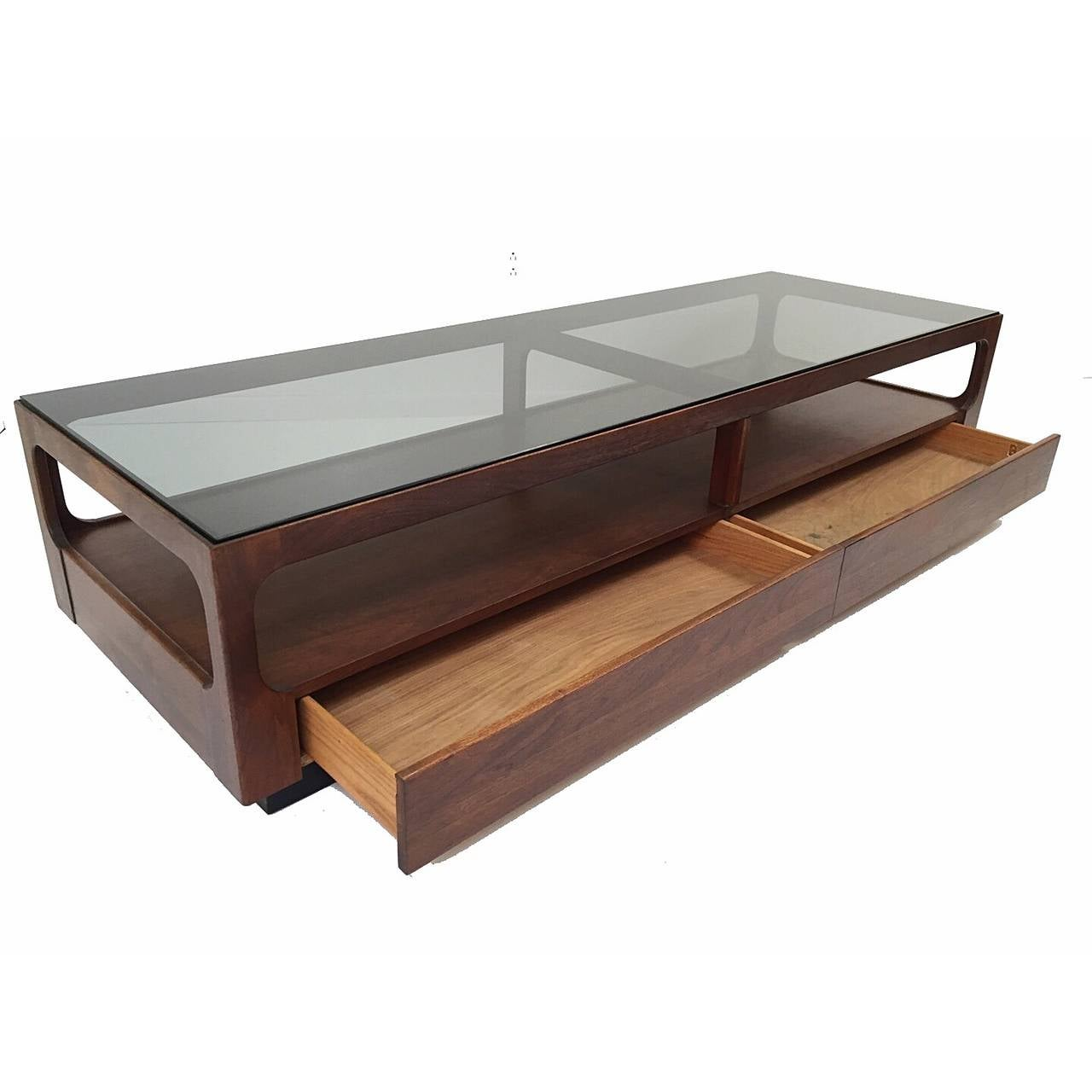 Brown Saltman Walnut And Smoked Glass Coffee Table With Storage By John Keal Image 2