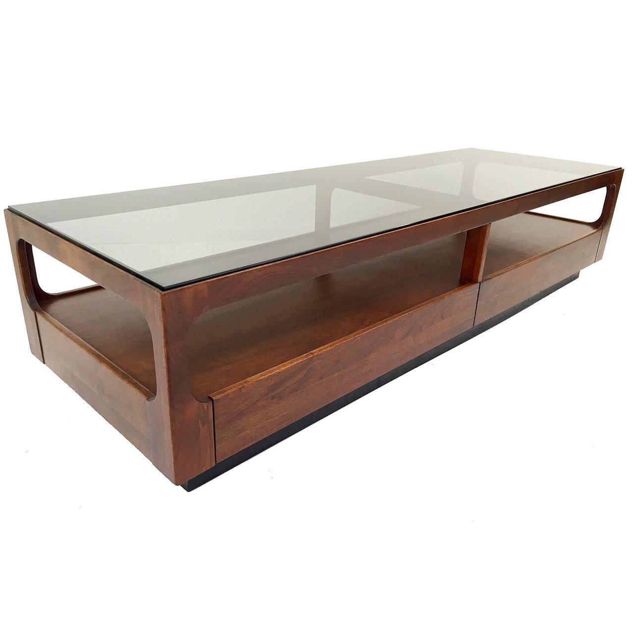 Brown saltman walnut and smoked glass coffee table with for Coffee table with storage and glass top