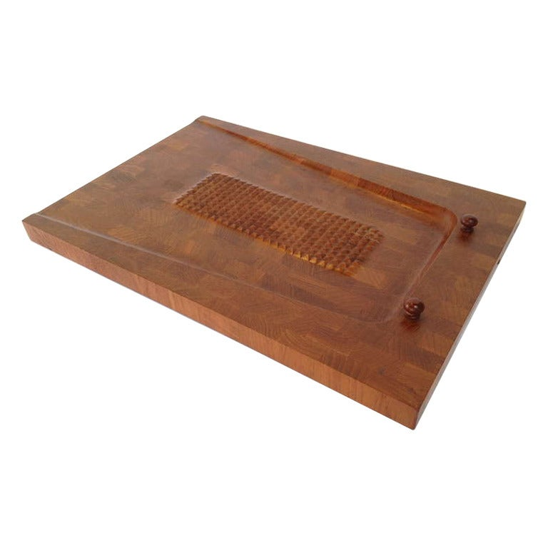 Danish Modern Teak Cutting Board Wall Hanging Made In