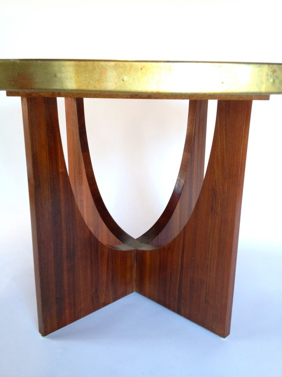 Gold Foyer Table : Sculptural gold foil top dining or foyer table on walnut