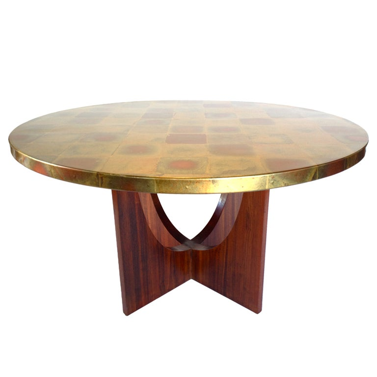 Foyer Table Base : Sculptural gold foil top dining or foyer table on walnut
