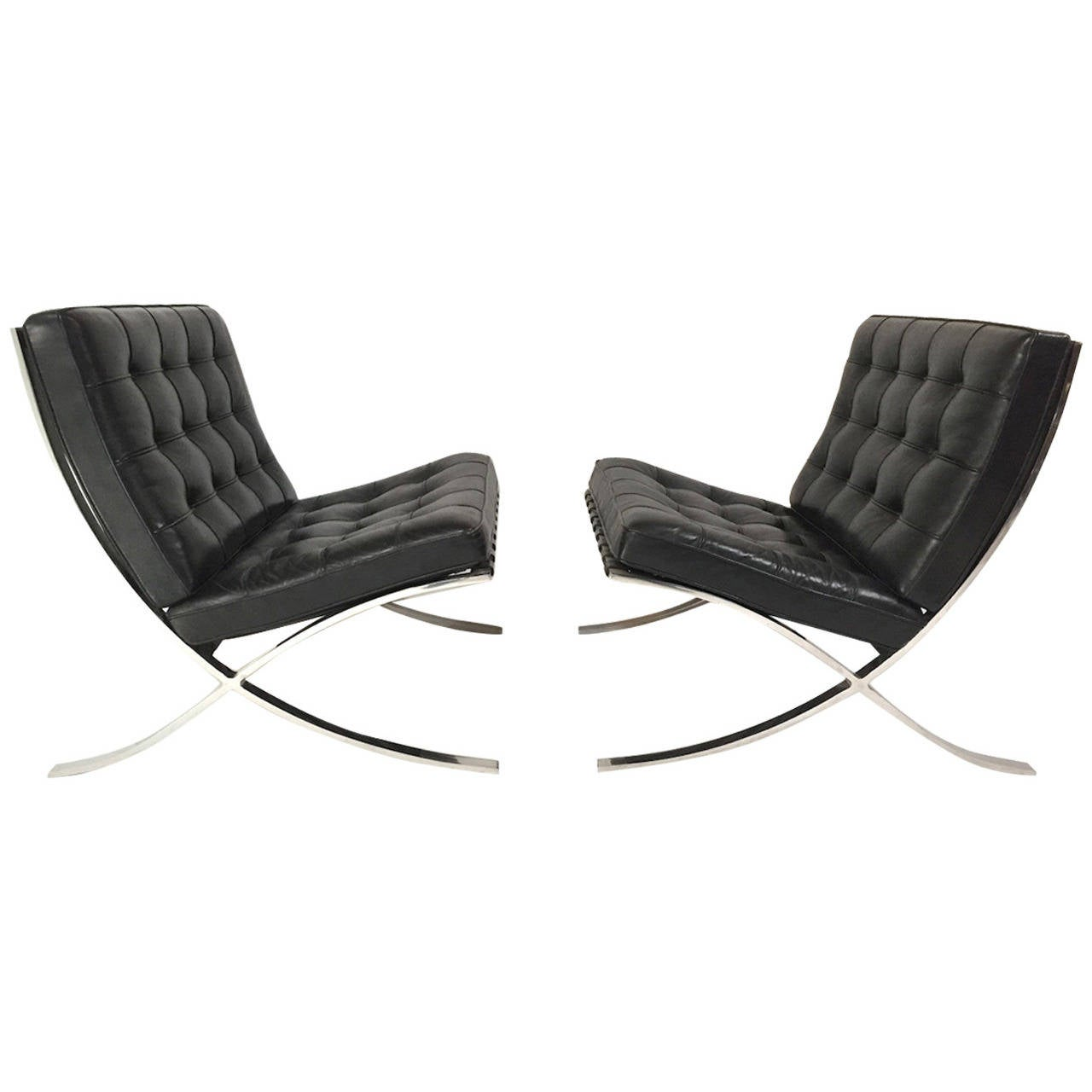 pair of authentic mies van der rohe black leather barcelona chairs by. Black Bedroom Furniture Sets. Home Design Ideas