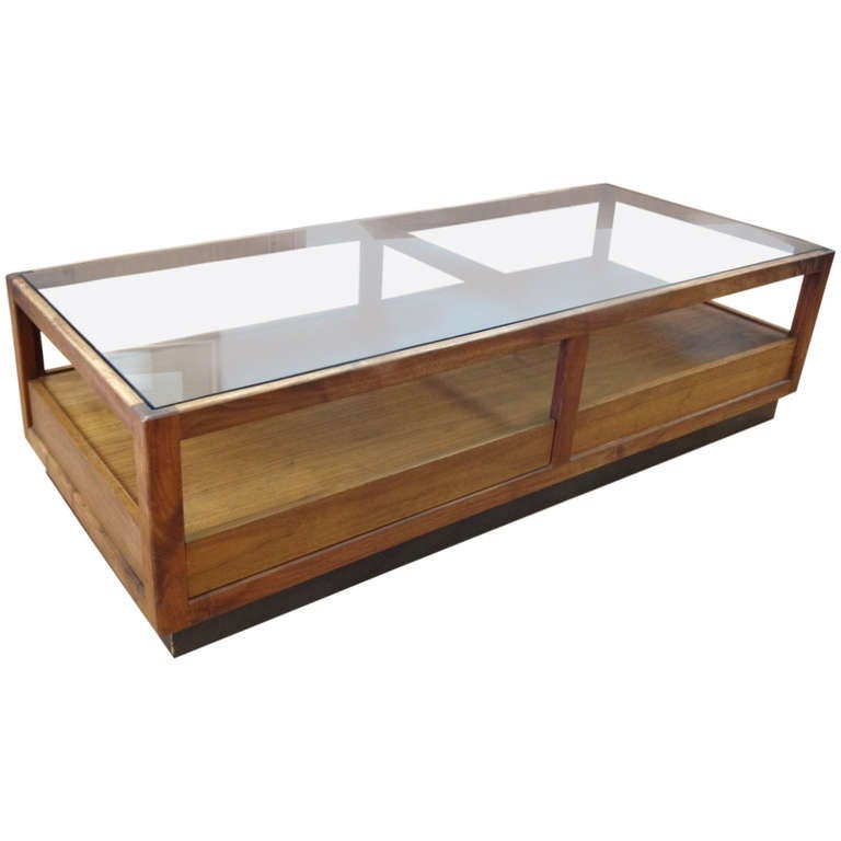 Danish Modern Walnut And Smoked Glass Coffee Table With