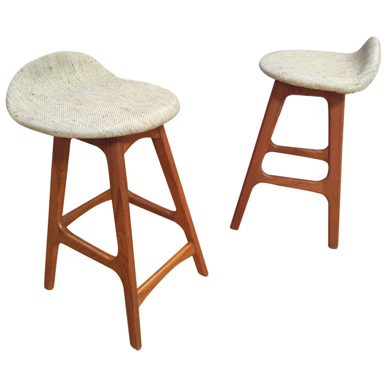 Pair Of Danish Modern Teak Counter Height Bar Stools By