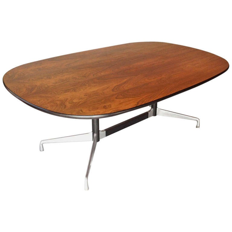 Charles eames rosewood aluminum group table for herman - Eames table herman miller ...