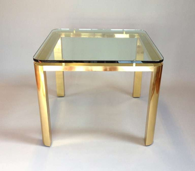 Elegant brass dining table with floating glass top attrib for Fancy glass dining table