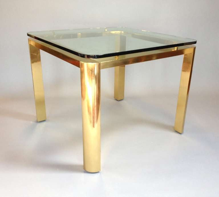 Elegant brass dining table with floating glass top attrib for Floating dining table