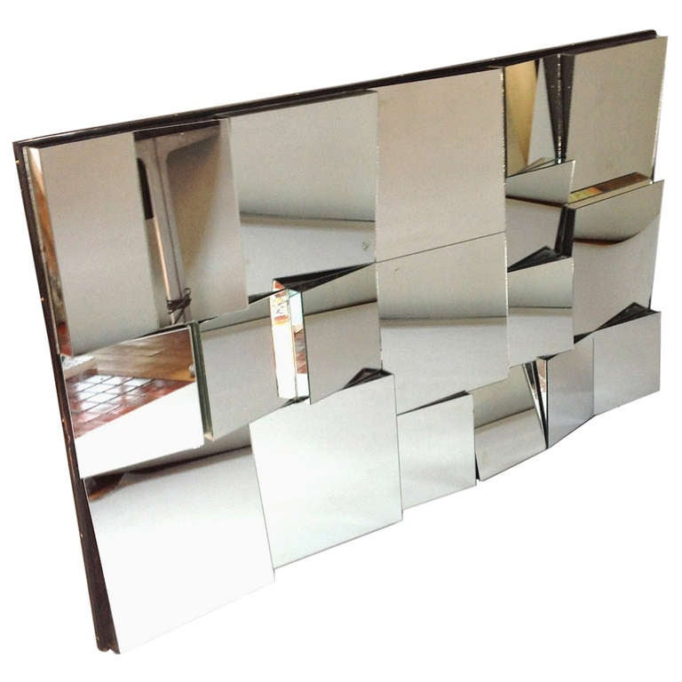Vintage Neal Small Faceted Cubist Quot Slopes Quot Wall Mirror At