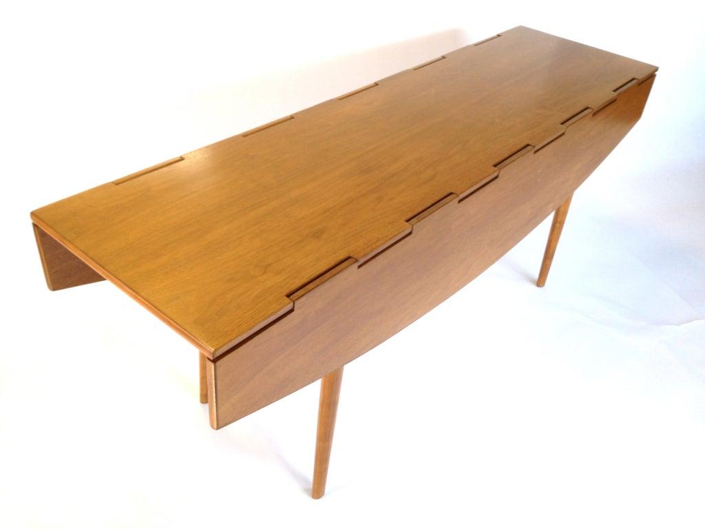 Drop Leaf Table Dining: Sculptural Danish Modern Walnut Drop Leaf Dining Console