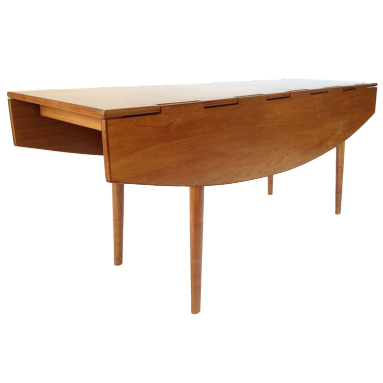 Sculptural danish modern walnut drop leaf dining console for Danish modern dining room table