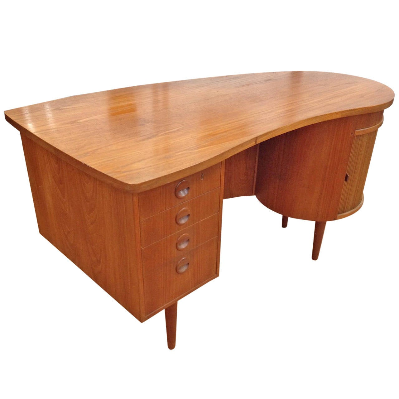 modern teak kidney shaped desk with built in bar by kristiansen at 1stdibs