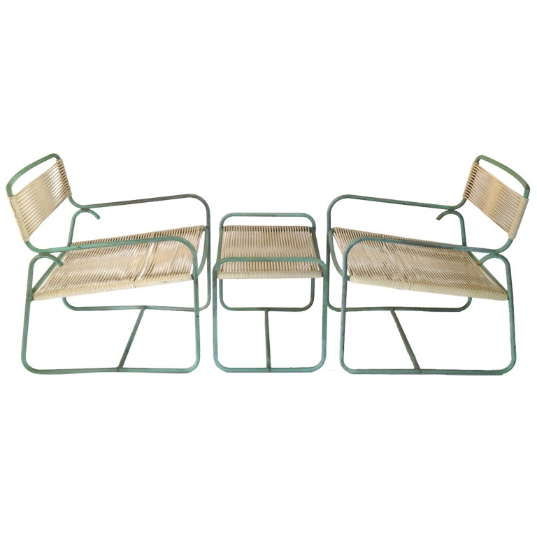 Pair of Walter Lamb Bronze Lounge Chairs with Ottoman for
