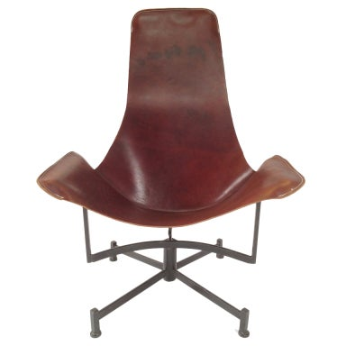 Iron and Leather Sling Lounge Chair by Max Gottschalk
