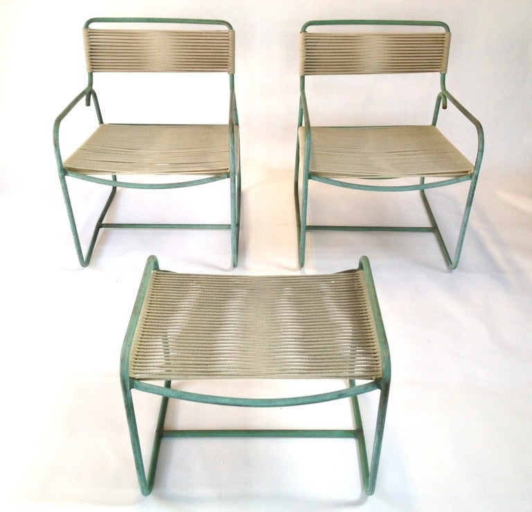 Pair of Walter Lamb Bronze Lounge Chairs with Ottoman for Brown Jordan at 1st