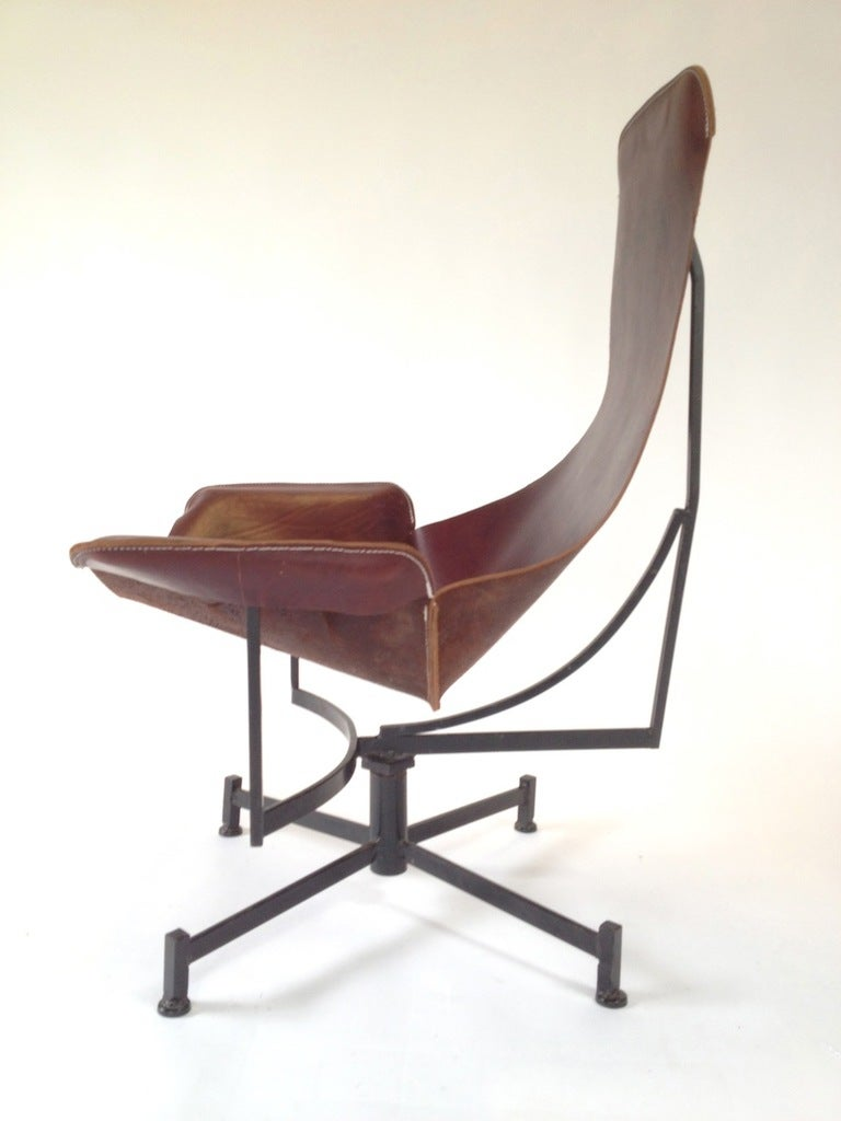 Iron and Leather Sling Lounge Chair by Max Gottschalk at 1stdibs
