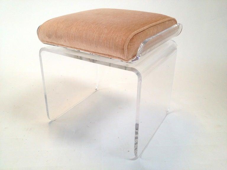 Upholstered lucite swivel vanity stool attr charles hollis jones at