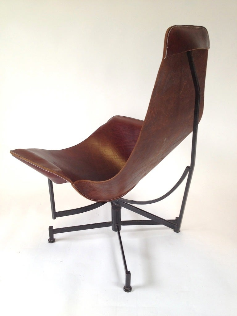 Iron and Leather Sling Lounge Chair by Max Gottschalk at