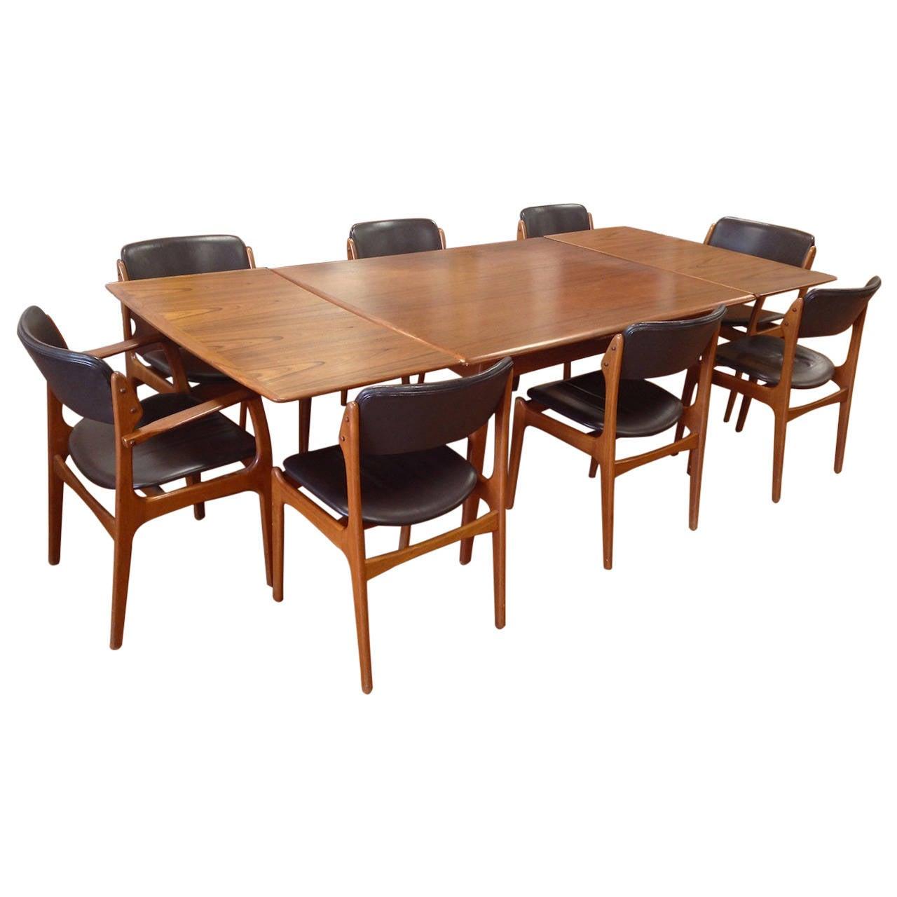 Danish modern teak dining table by svend madsen with eight erik buck chairs at 1stdibs - Scandinavian teak dining room furniture design ...