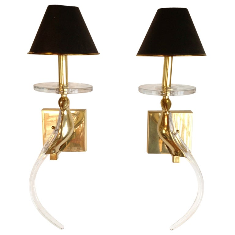 Wall Sconces With Birds : Pair of Solid Brass and Lucite Bird Wall Sconces at 1stdibs
