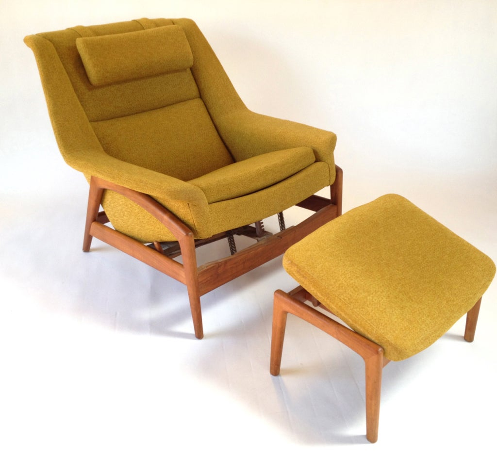 Danish modern lounge chair and ottoman by folke ohlsson for Designer lounge furniture