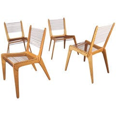Set of Four Jacques Guillon Cord Chairs