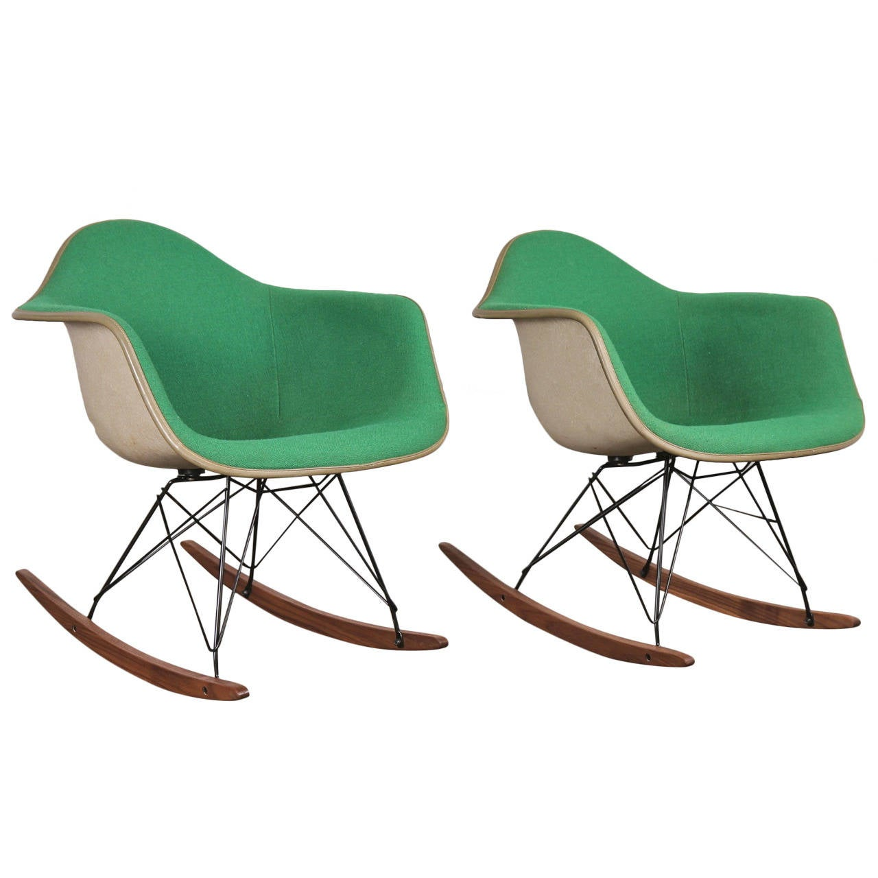 Vintage Green Eames Upholstered Rocking Chair   One Left For Sale