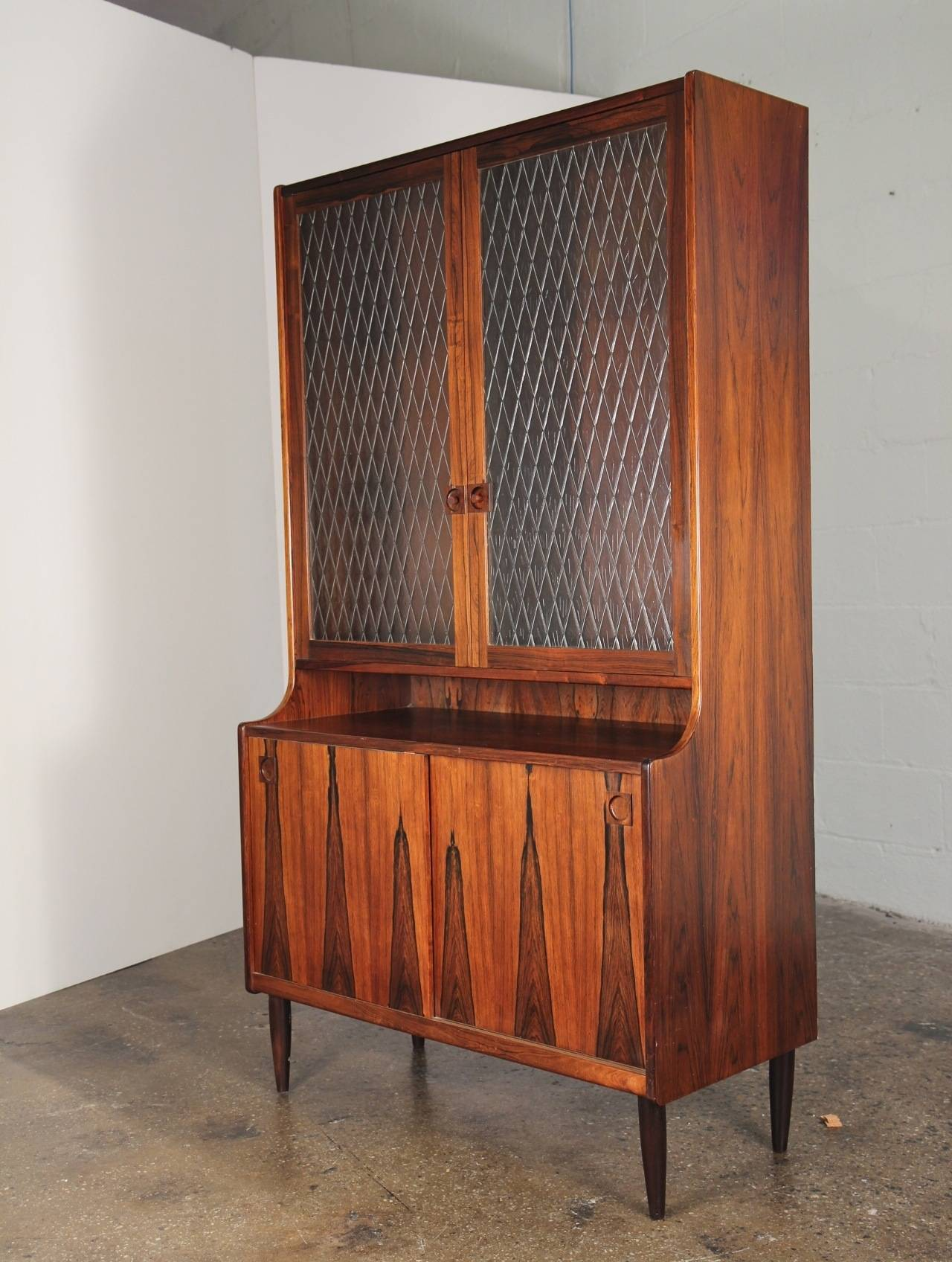 Scandinavian Rosewood Bookcase with Glass Doors at 1stdibs