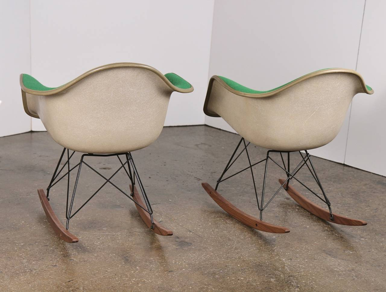 vintage green eames upholstered rocking chair one left image 4