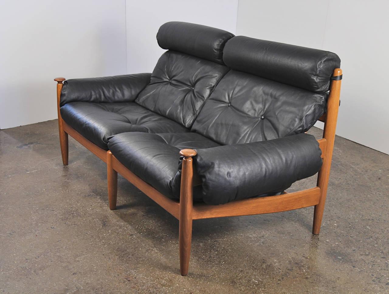 danish modern leather sofa set image 2