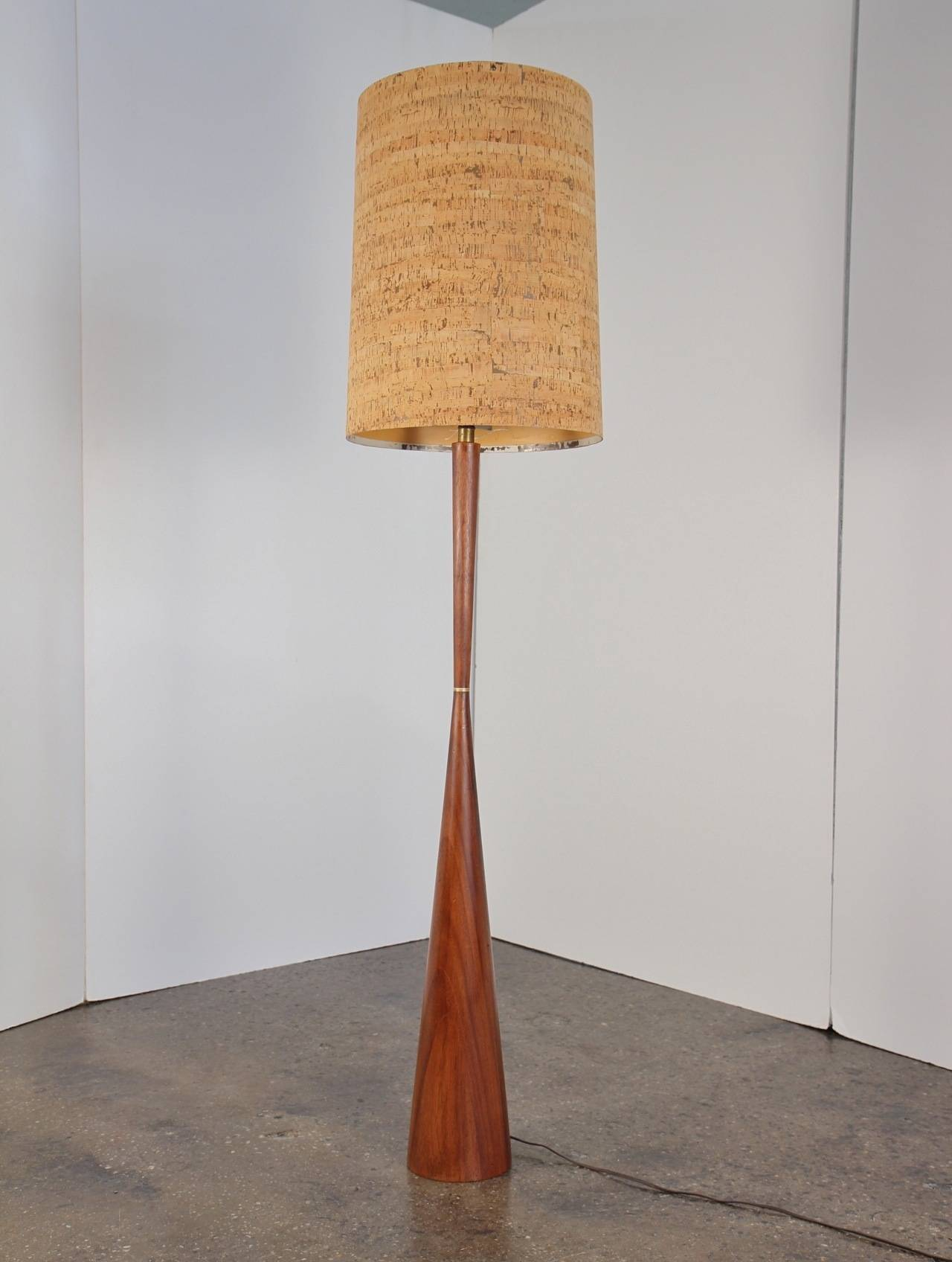 Large mid century walnut floor lamp with cork shade at 1stdibs mid century modern large mid century walnut floor lamp with cork shade for sale aloadofball Images