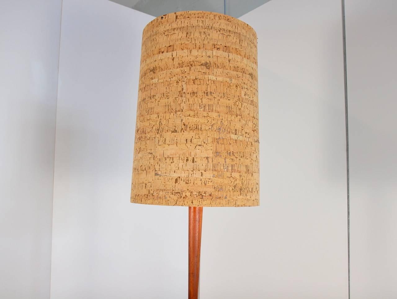 large mid century walnut floor lamp with cork shade at 1stdibs. Black Bedroom Furniture Sets. Home Design Ideas