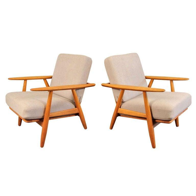 Pair Hans Wegner Ge 240 Cigar Chairs At 1stdibs