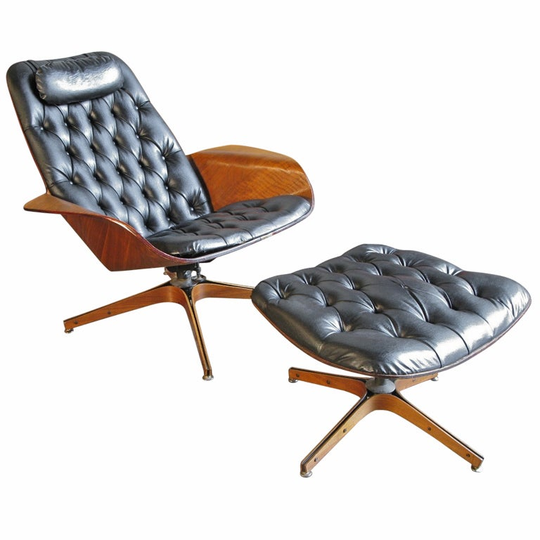 Plycraft Lounge Chair and Ottoman by George Mulhauser at 1stdibs