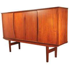 1960's Large Danish Modern Teak Sideboard Bar Cabinet
