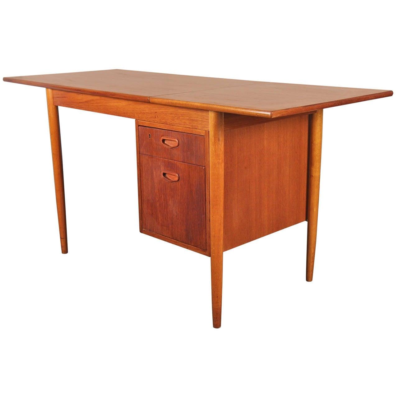 Danish Modern Teak Drop Leaf Desk At 1stdibs