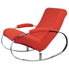 Modernist Chrome Milo Baughman Style Rocking Chair