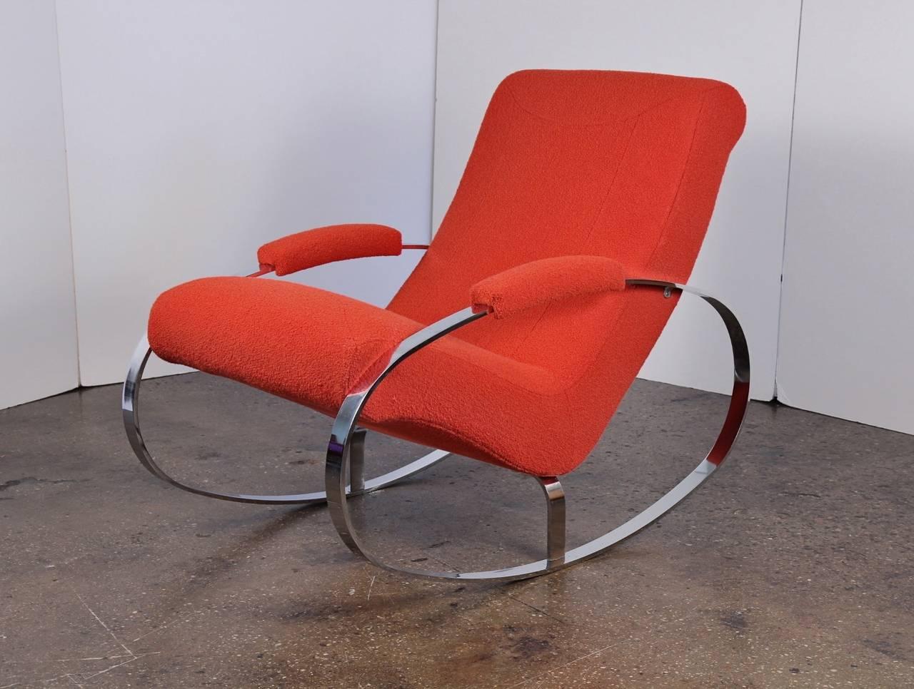 Phenomenal Modernist Chrome Milo Baughman Style Rocking Chair Lamtechconsult Wood Chair Design Ideas Lamtechconsultcom