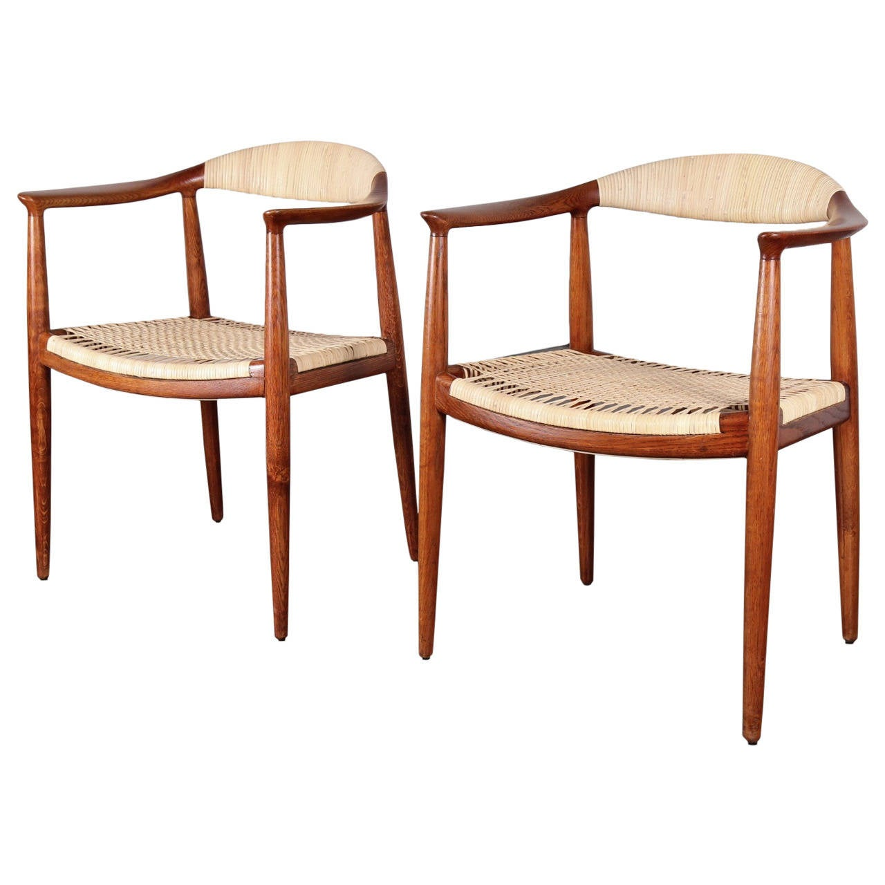 Cane Round Chairs By Hans Wegner At 1stdibs