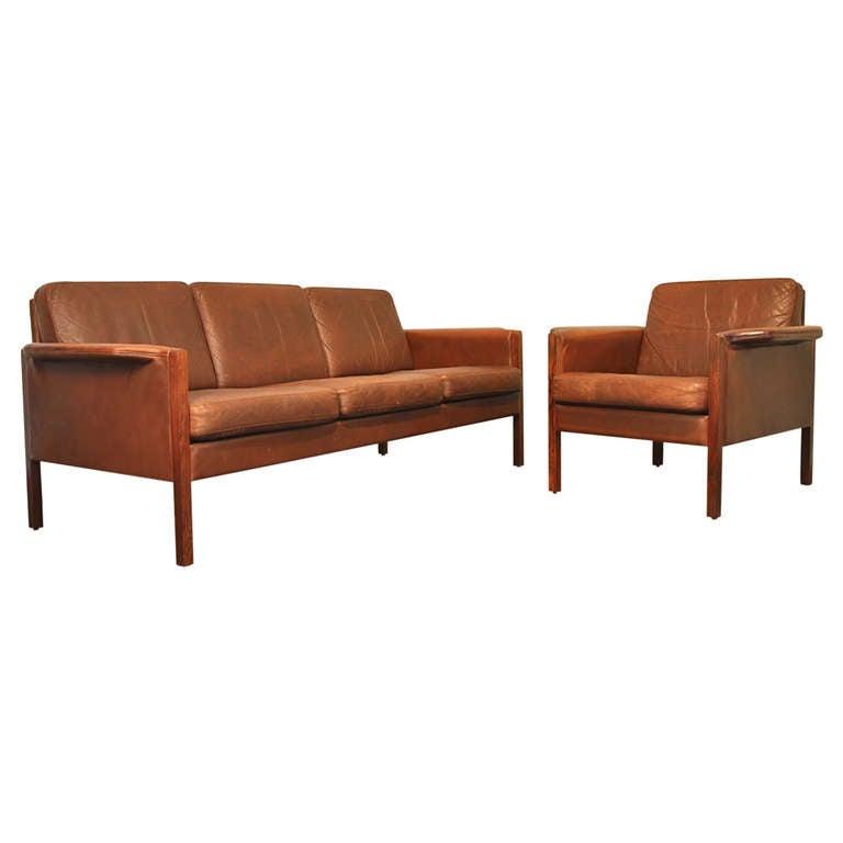 danish modern leather sofa and chair set at 1stdibs