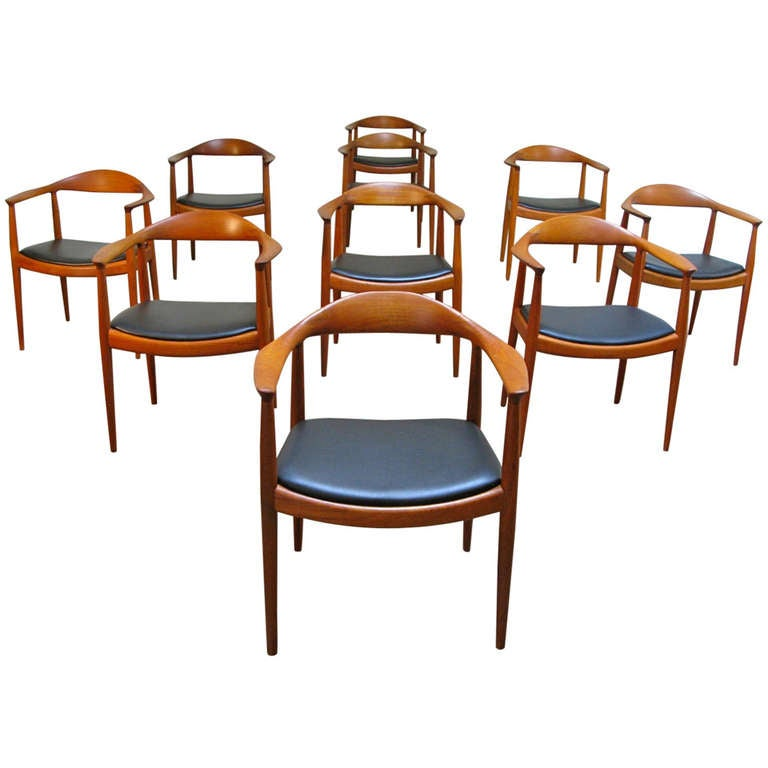 This four wishbone chairs by hans wegner is no longer available - Set Of Ten Early Wegner Round Chairs At 1stdibs